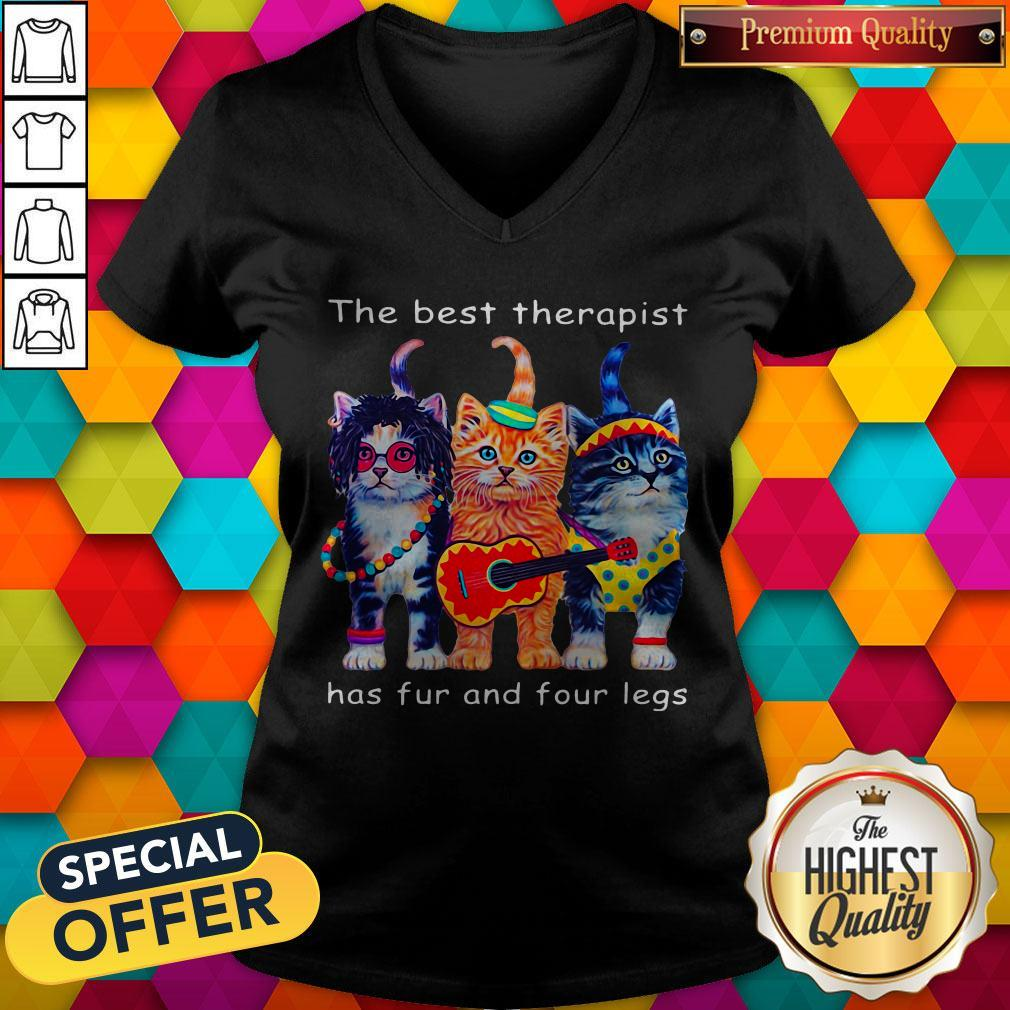 Cute Cats The Best Therapist Has Fur And Four Legs V-neck