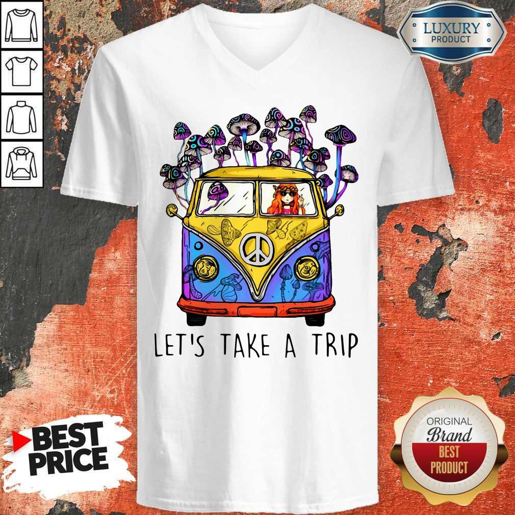Cute Hippie Girl Let's Take A Trip V-neck