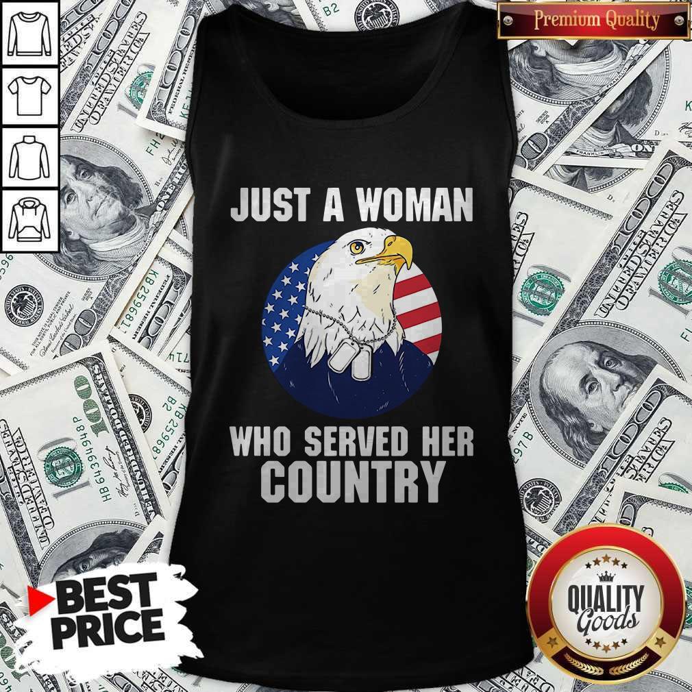 Eagle American Flag Just A Woman Who Served Her Country Tank Top