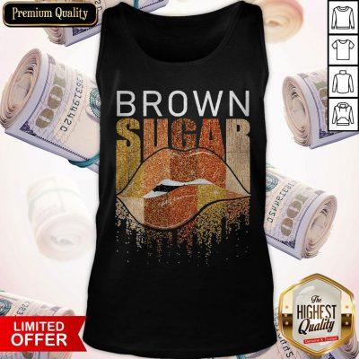 Funny Brown Sugar Lip Diamond Tank Top
