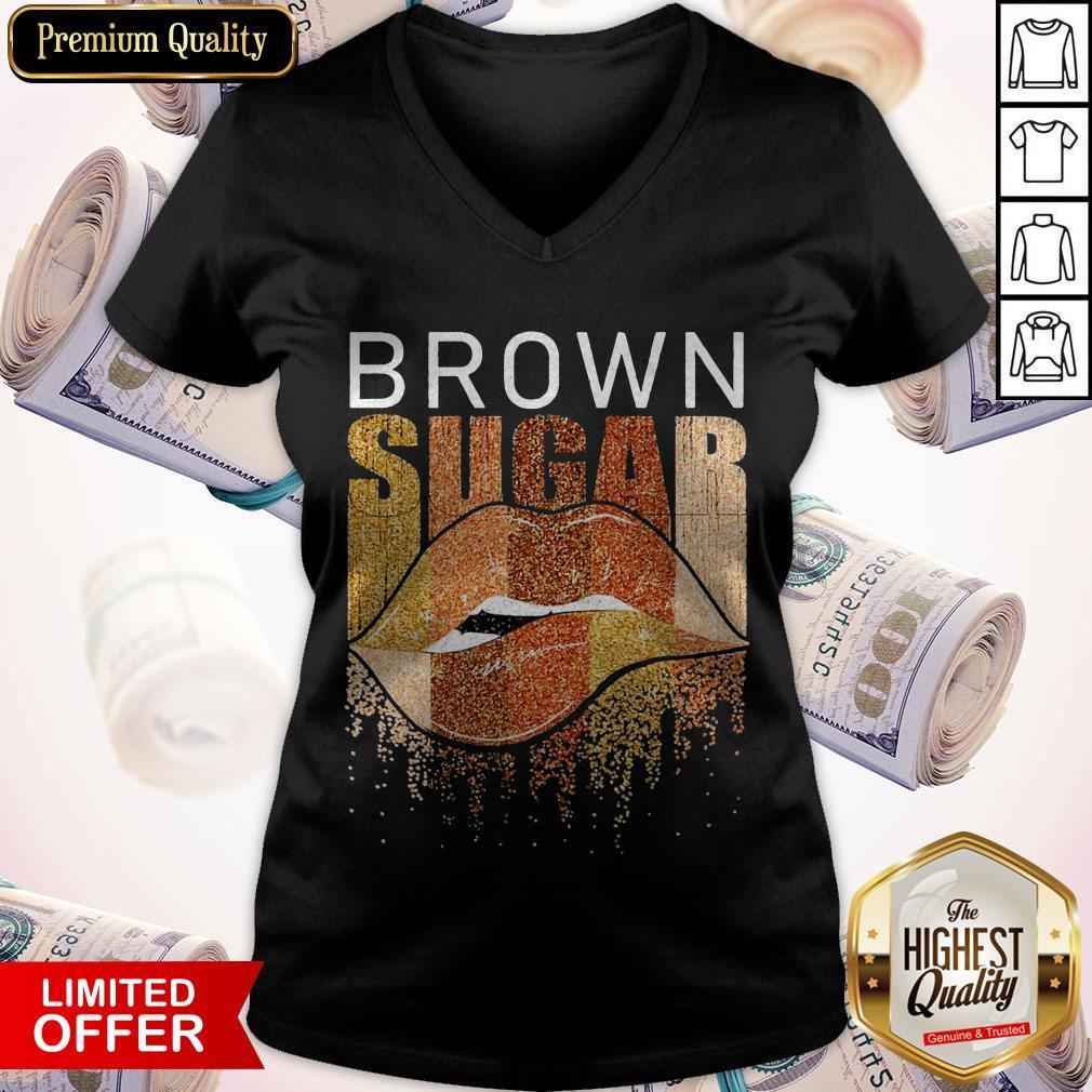 Funny Brown Sugar Lip Diamond V-neck