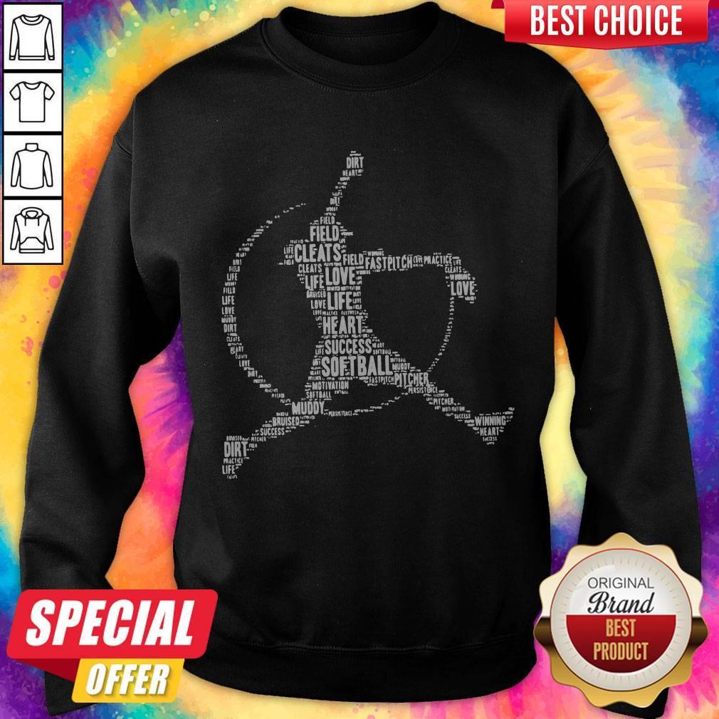 Funny Field Cleats Love Life Heart Success Softball Sweatshirt
