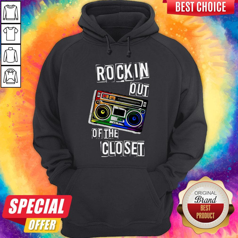 Gay Pride Rockin Out Of The Closet LGBTQ Parade Hoodie
