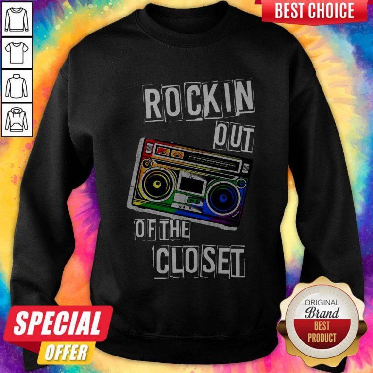 Gay Pride Rockin Out Of The Closet LGBTQ Parade Sweatshirt