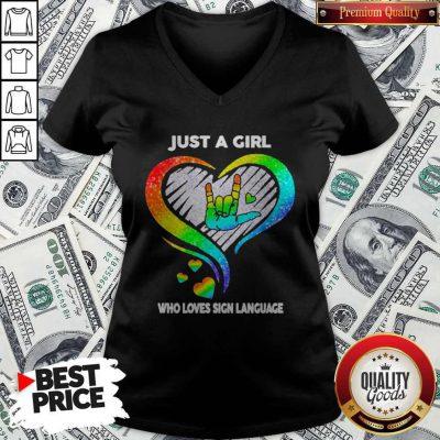 Good LGBT Just A Girl Who Love Sign Language Diamond V-neck