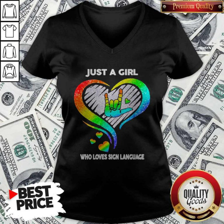 Good LGBT Just A Girl Who Love Sign Language Diamond V-neck