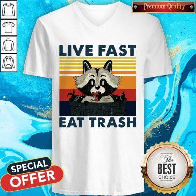 Good Raccoon Live Fast Eat Trash Vintage V-neck