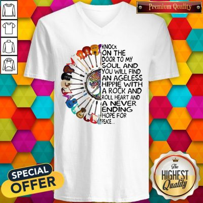 Hippie Guitar Knock On The Door To My Soul V-neck