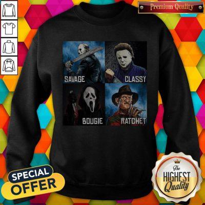 Horror Movies Characters Savage Classy Bougie Ratchet Sweatshirt