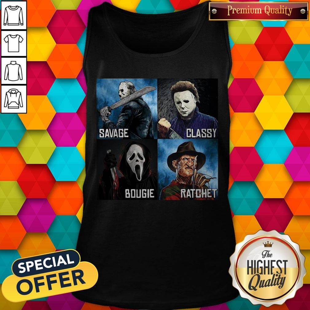 Horror Movies Characters Savage Classy Bougie Ratchet Tank Top