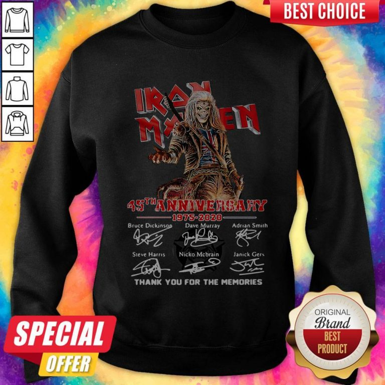 Iron Maiden 45Th Anniversary 1975 2020 Thank You For The Memories Signatures Band Sweatshirt