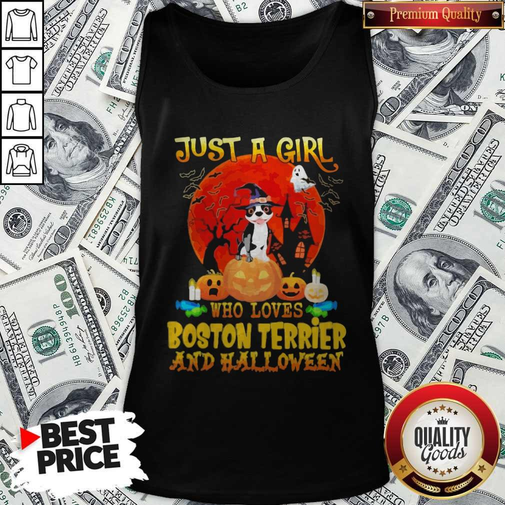 Just A Girl Who Loves Boston Terrier And Halloween Tank Top