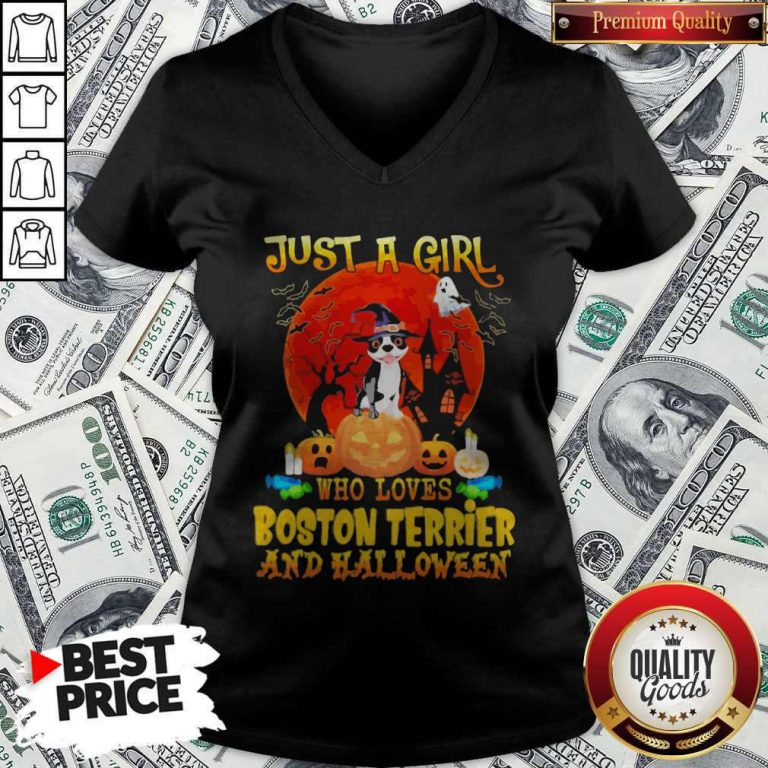 Just A Girl Who Loves Boston Terrier And Halloween V-neck