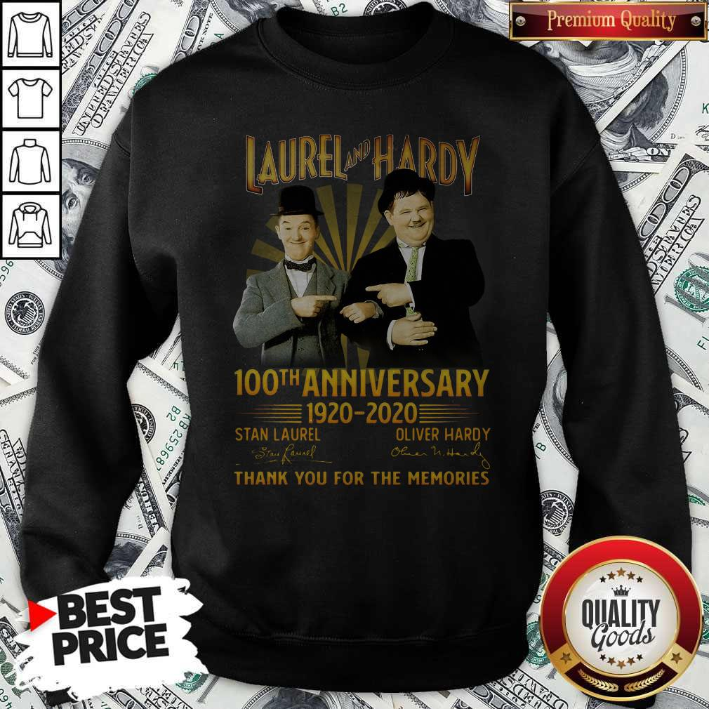 Laurel And Hardy 100th Anniversary 1920 2020 Thank You For The Memories Signature Sweatshirt