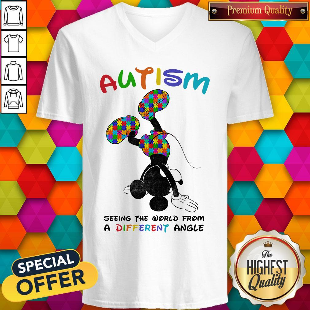 Mickey Mouse Autism Seeing The World From A Different Angle V-neck