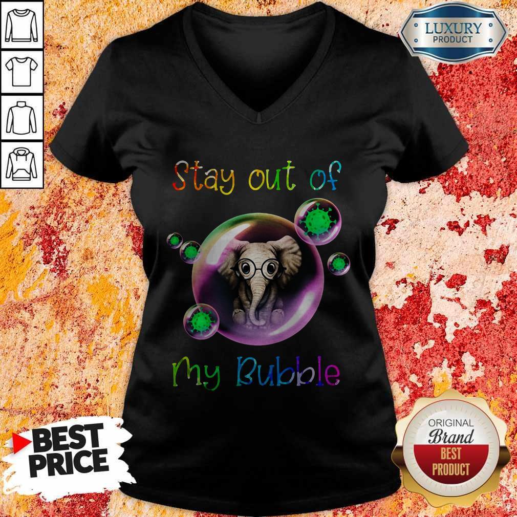 Nice Stay Out My Bubble Coronavirus Elephant V-neck