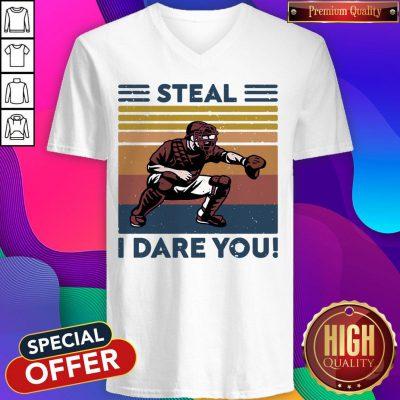 Official Baseball Steal I Dare You Vintage V-neck