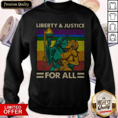 Official LGBT Liberty And Justice For All Vintage Sweatshirt