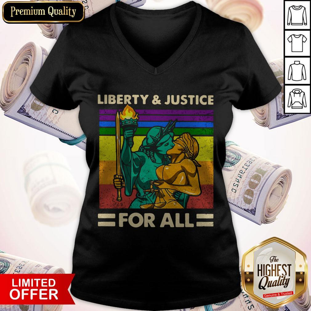Official LGBT Liberty And Justice For All Vintage V-neck