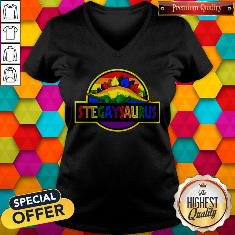 Official LGBT Stegaysaurus V-neck