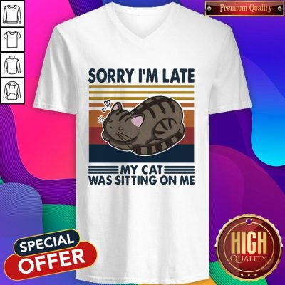 Official Sorry I'm Late My Cat Was Sitting On Me Cat Vintage V-neck