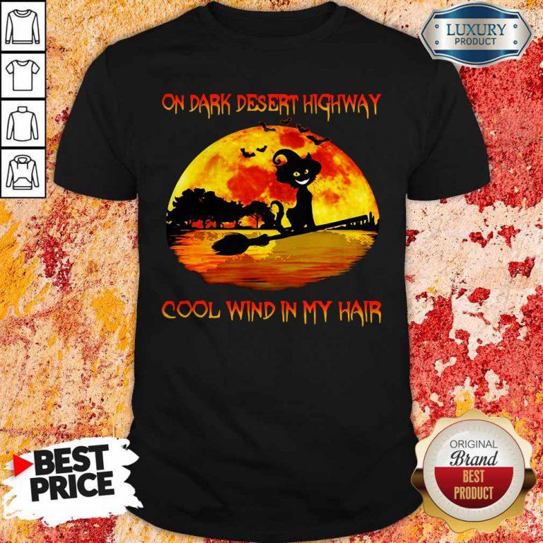 On Dark Desert Highway Cool Wind In My Hair Cat Riding A Broom Moon Halloween Shirt