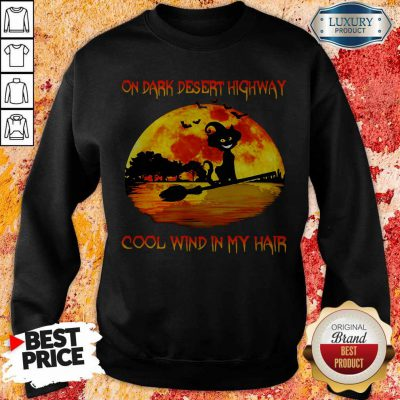 On Dark Desert Highway Cool Wind In My Hair Cat Riding A Broom Moon Halloween Sweatshirt