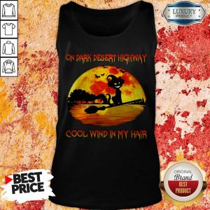 On Dark Desert Highway Cool Wind In My Hair Cat Riding A Broom Moon Halloween Tank Top