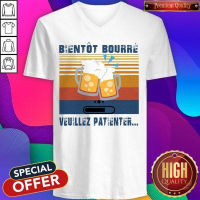 Premium Bientôt Bourré Veuillez Patienter Vintage V-neck