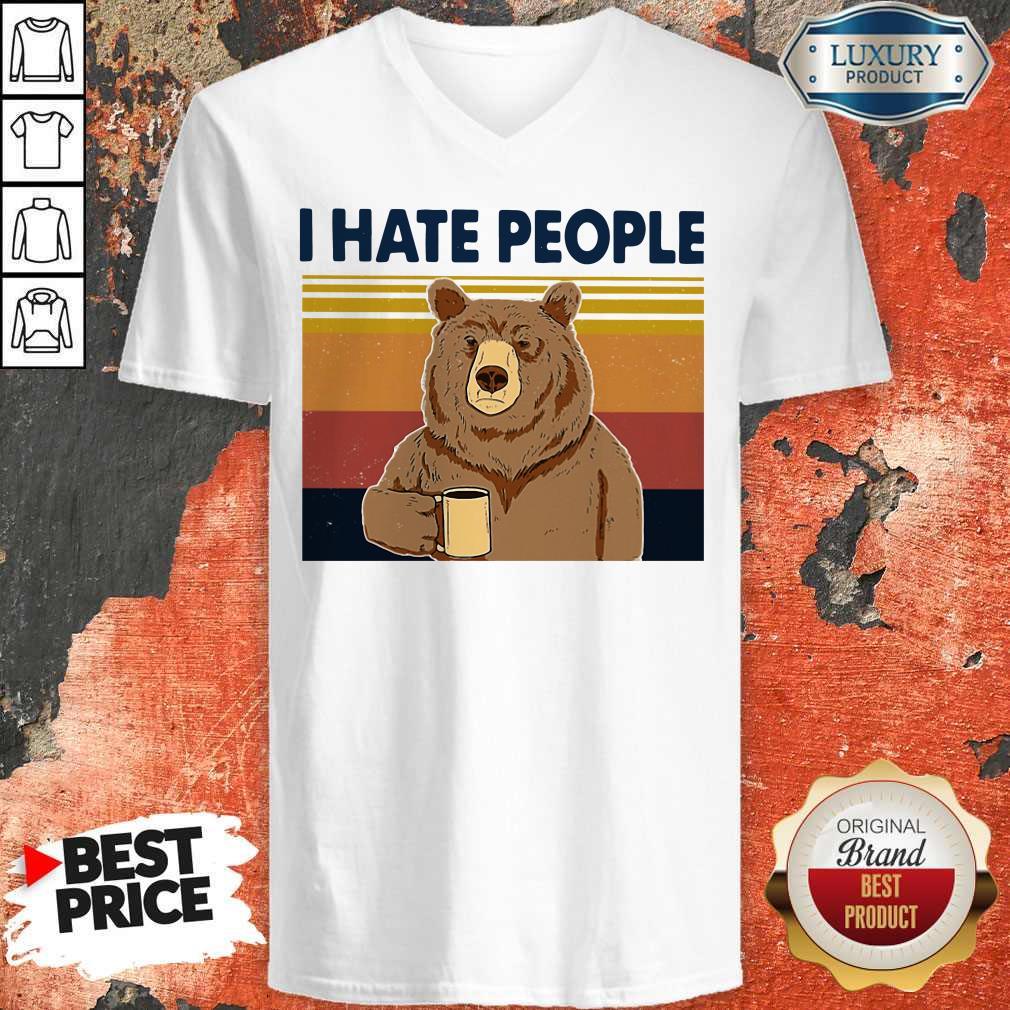 Premium I Hate People Bear Vintage V-neck