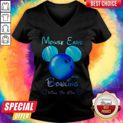 Premium Mouse Ears And Bowling Kind Of Girl V-neck