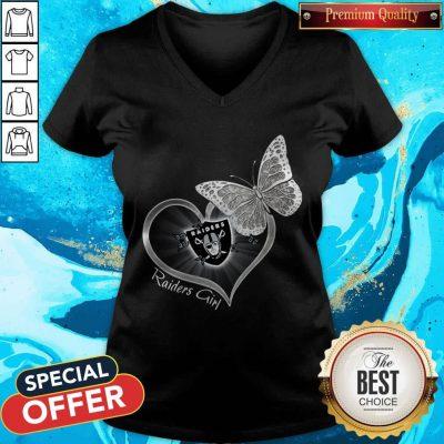 Pretty Butterfly Heart Raiders Girl V-neck
