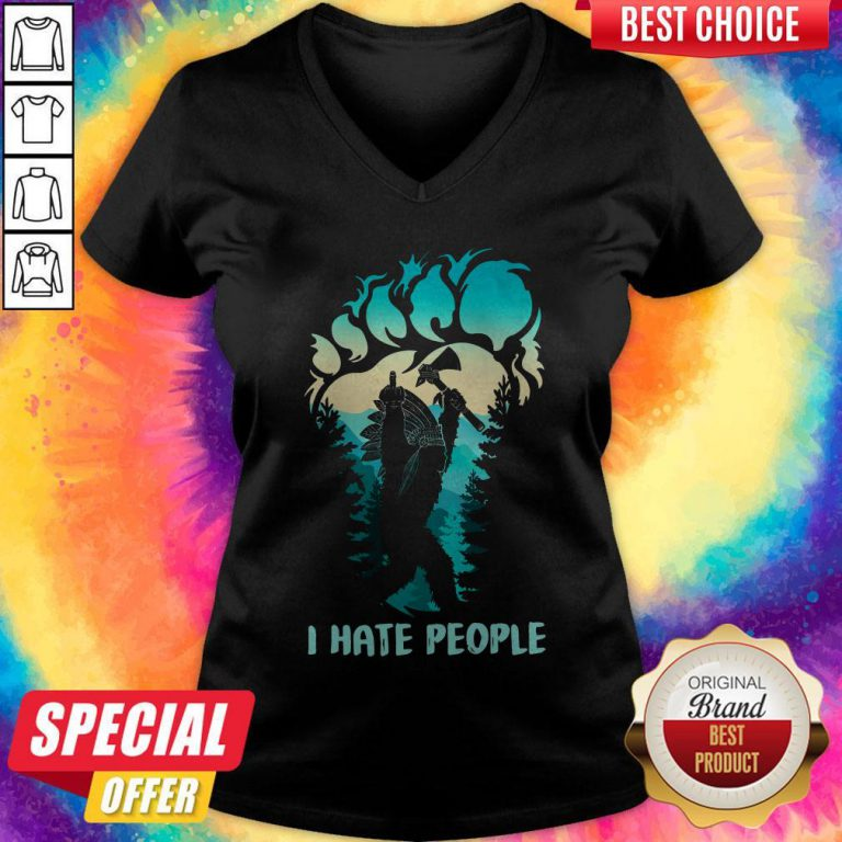 Pretty Native Bigfoot I Hate People V-neck