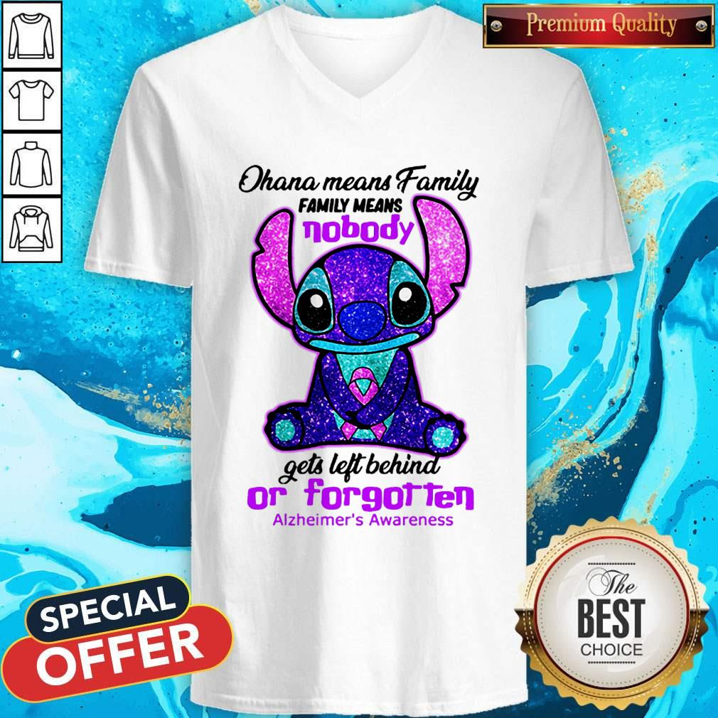 Stitch Ohana Means Family Family Means Nobody Gets Left Behind Or Forgotten Alzheimer's Awareness V-neck