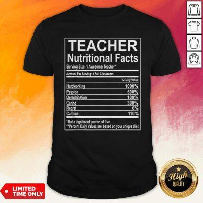 Good Teacher Nutrition Facts Shirt