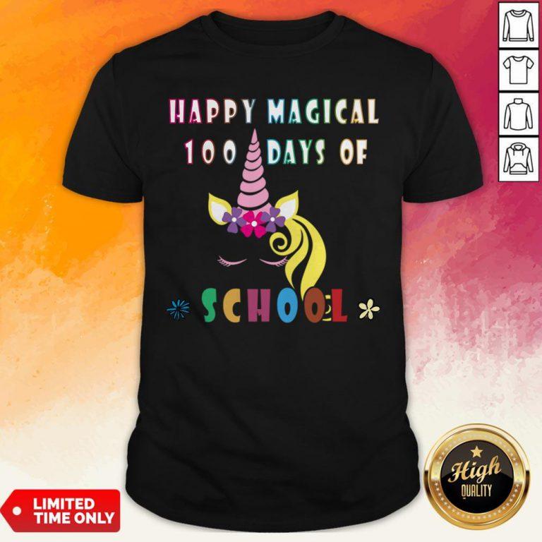 Happy Magical 100 Days Of School Funny Women Teacher Ampkids Shirt
