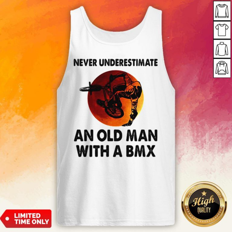 Never Underestimate An Old Man With A BMX Sunset Tank Top