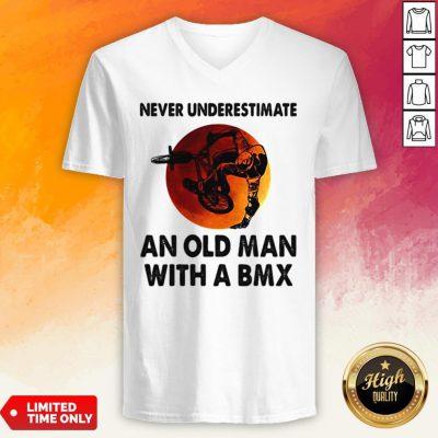 Never Underestimate An Old Man With A BMX Sunset V-neck