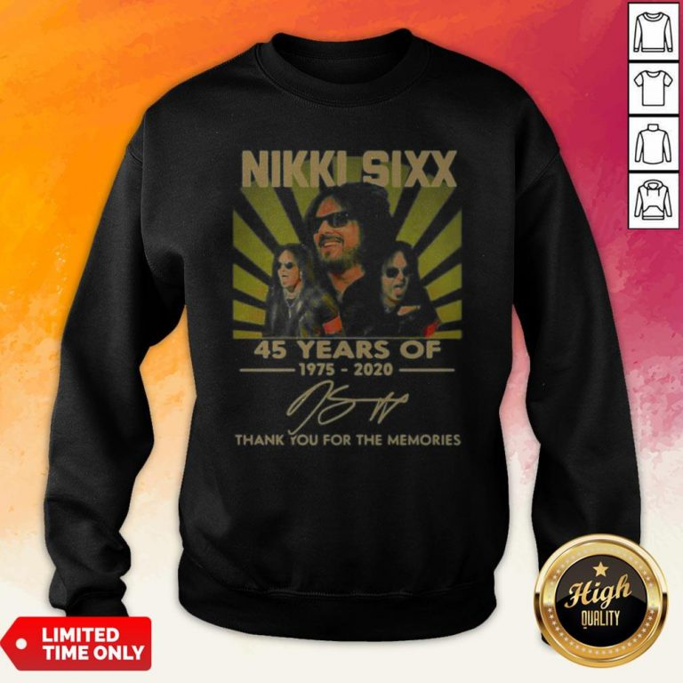 Nikki Sixx 45 Years Of 1975 2020 Thank You For The Memories Signatures Sweatshirt