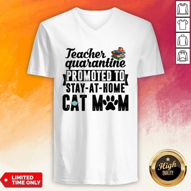 Teacher Quarantined Promoted To Stay At Home Cat Mom V-neck