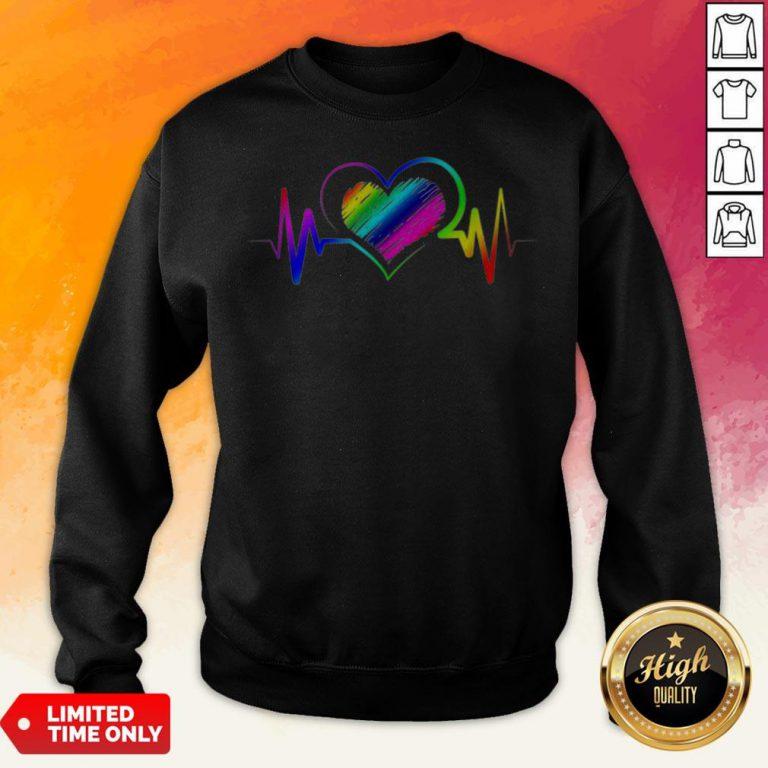 Awesome Heartbeat With Rainbow Lgbt Sweatshirt