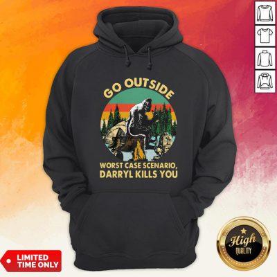 Bigfoot Go Outside Worst Case Scenario Darryl Kills You Vintage Retro Hoodie