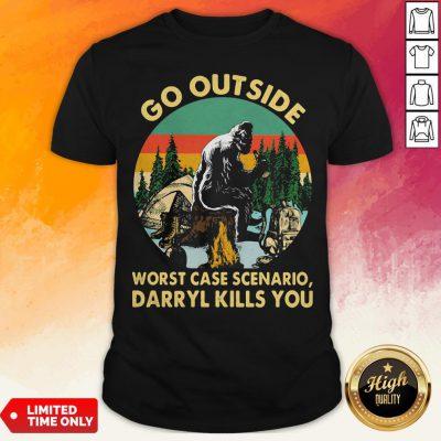 Bigfoot Go Outside Worst Case Scenario Darryl Kills You Vintage Retro Shirt