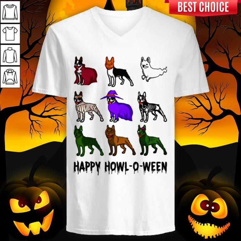 Bostie Happy Howl O Ween Halloween V-neck