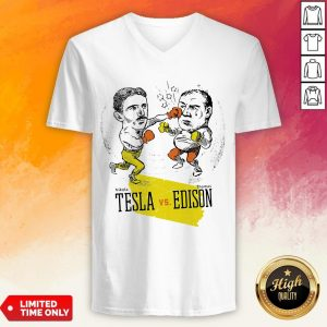 Boxing Nikola Tesla And Thomas Edison V-neck
