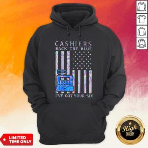 Cashiers Back The Blue I've Got Your Six American Flag Hologram Hoodie