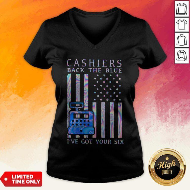 Cashiers Back The Blue I've Got Your Six American Flag Hologram V-neck