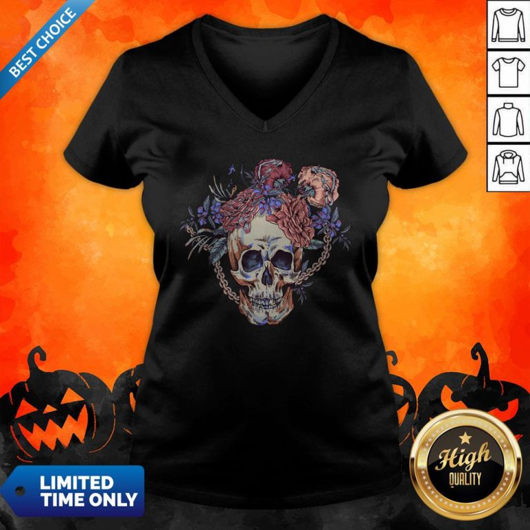 Day Of The Dead Vintage Sugar Skull V-neck