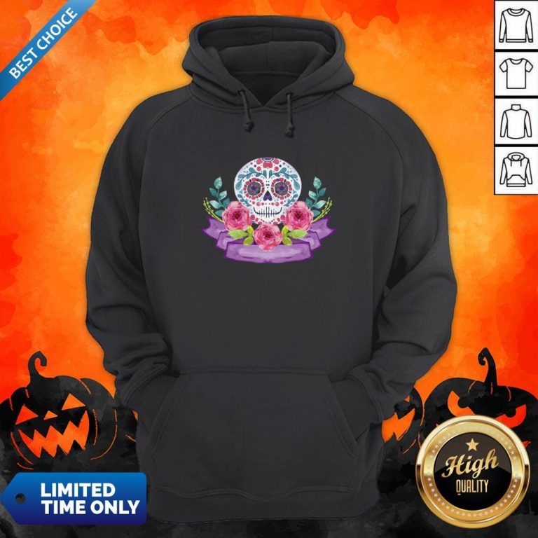 Dia De Muertos Day Of Dead Sugar Skull Flower Hoodie
