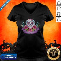Dia De Muertos Day Of Dead Sugar Skull Flower V-neck